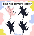 find correct shadow game with funny llama vector image vector image