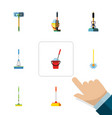 flat icon broomstick set of equipment besom vector image