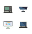 flat icon laptop set of display pc technology vector image vector image