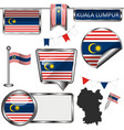 glossy icons with flag of kuala lumpur vector image vector image
