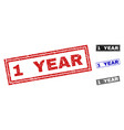 grunge 1 year textured rectangle stamps vector image vector image