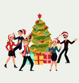happy people having corporate xmas party dancing vector image vector image