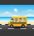 happy school kids riding a school bus on the seasi vector image vector image