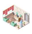 isometric hotel reception hall interior office vector image vector image