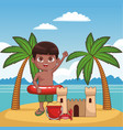 kidsand beach cute cartoons vector image