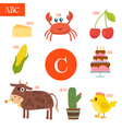 Letter C Cartoon alphabet for children Cake cow vector image vector image