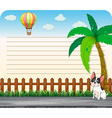 Line paper design with dog on the road vector image vector image