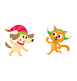 little cat and dog characters playing snowballs vector image vector image