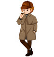 man in brown jacket with smoking pipe vector image vector image