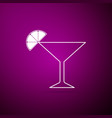 martini glass icon isolated on purple background vector image