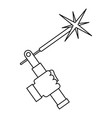 mig welding torch in hand icon outline vector image vector image