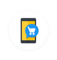mobile shopping smartphone and cart flat icon vector image vector image