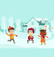 multicultural children playing snowball fight vector image vector image