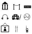 museum icon set vector image vector image