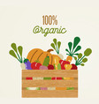 organic food concept with healthy vegetables vector image vector image