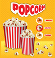 popcorn paper boxes concept background realistic vector image