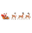 santa claus riding on sled with xmas reindeers vector image