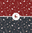 Seamless Pattern with Birds and Berries vector image vector image
