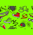 seamless pattern with cartoon sneakers skateboard vector image