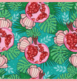 seamless pattern with exotic pomegranate palm vector image vector image