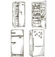 set four hand drawn fridges vector image