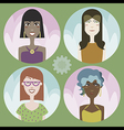 Set of four cartoon avatars - girls 01 vector image