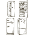 set of four hand drawn fridges vector image vector image