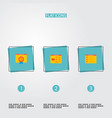 set of wd icons flat style symbols with best vector image vector image