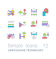 set simple line icons agriculture technology