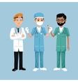 set staff medical men health workers vector image
