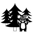 silhouette ethnic bear animal with pine trees vector image vector image