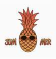 summer graphics with pineapple in sunglasses vector image vector image