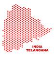 telangana state map - mosaic of lovely hearts vector image vector image