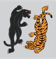 traditional tattoo black panther and tiger vector image vector image