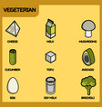 vegeterian color outline isometric icons vector image vector image