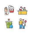 volunteering color icons set altruistic activity vector image vector image
