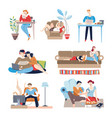 weekends at home people with passive lifestyle vector image