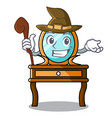 witch dressing table mascot cartoon vector image