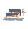 woman performs an elbow plank exercise home vector image vector image