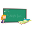 Back to school theme with girl and book vector image