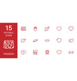 15 passion icons vector image vector image