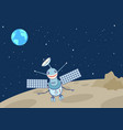 artificial satellite-droid on the moon vector image vector image