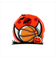 basketball halloween moon theme vector image