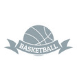 basketball logo simple gray style vector image vector image