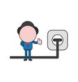 businessman character giving thumbs-up with plug vector image