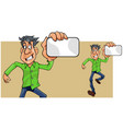 cartoon man running showing empty card in hand vector image vector image