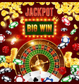 casino poker wheel fortune jackpot big win vector image