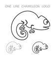Chameleon One Line Logo Minimalism Style vector image