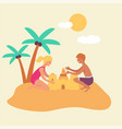children boy and girl playing in sand on a vector image vector image