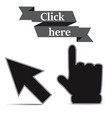 click icons hand and arrow origami vector image vector image